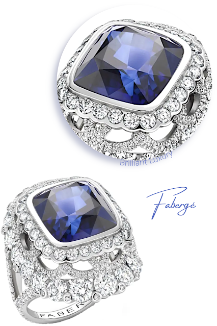 Fabergé Colours of Love platinum 13.01ct cushion cut blue sapphire diamond ring #brilliantluxury