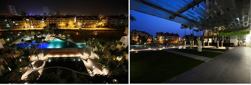 Toàn bộ Khuôn viên khu chung cư Mulberry Lane về đêm