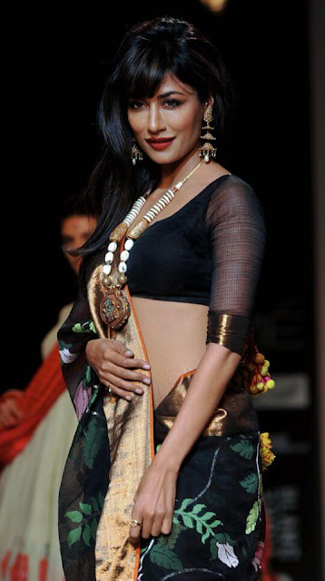 Beautiful Model And Indian Film Actress Chitrangada Singh In Black Color Indian Saree.