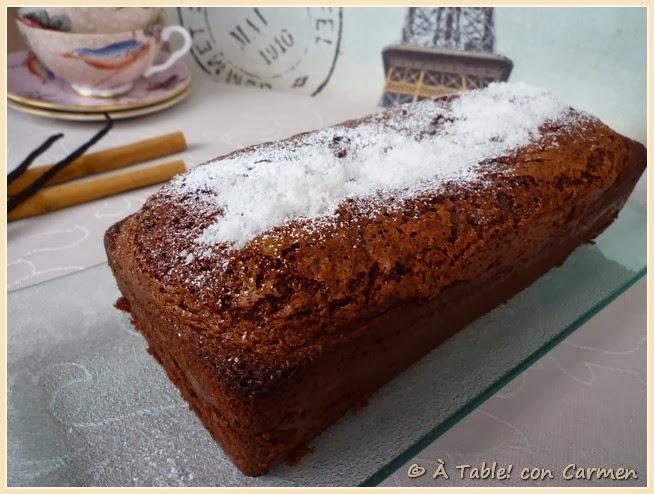 Plum cake de chocolate, canela y coco