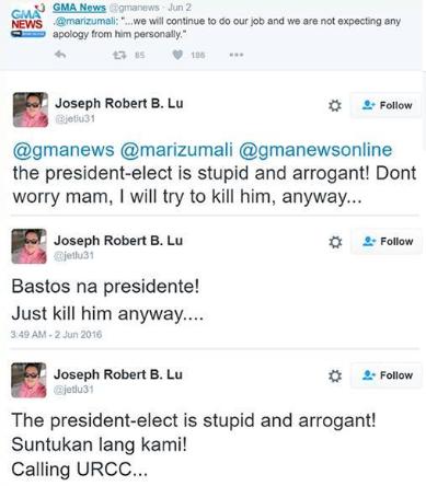 A netizen displays a violent reaction towards Duterte's catcalling issue.