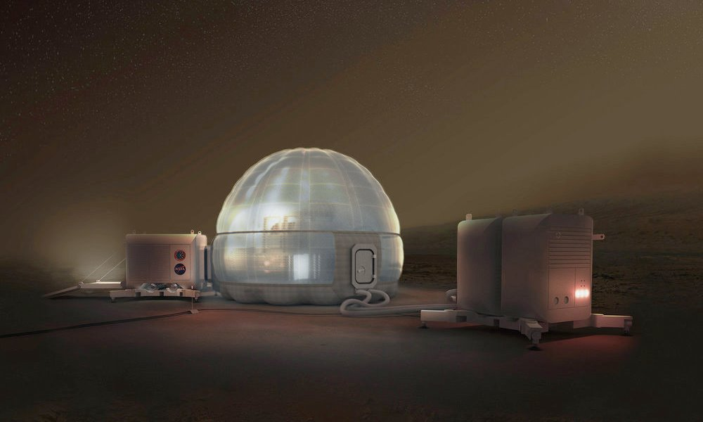 Mars Ice Home at night by NASA, SEArch+ & Clouds AO
