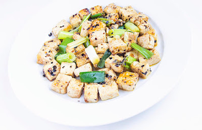 Chinese food - Tofu fried with spring onion