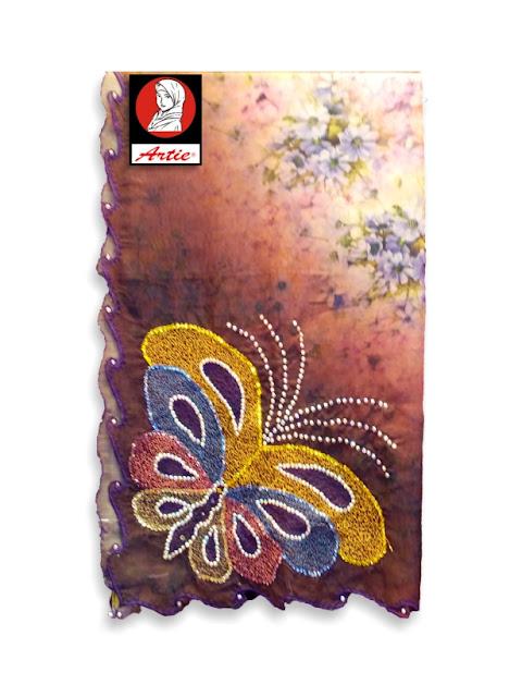 tudung bawal berlian motif rama-rama desain tudung hari raya terbaru