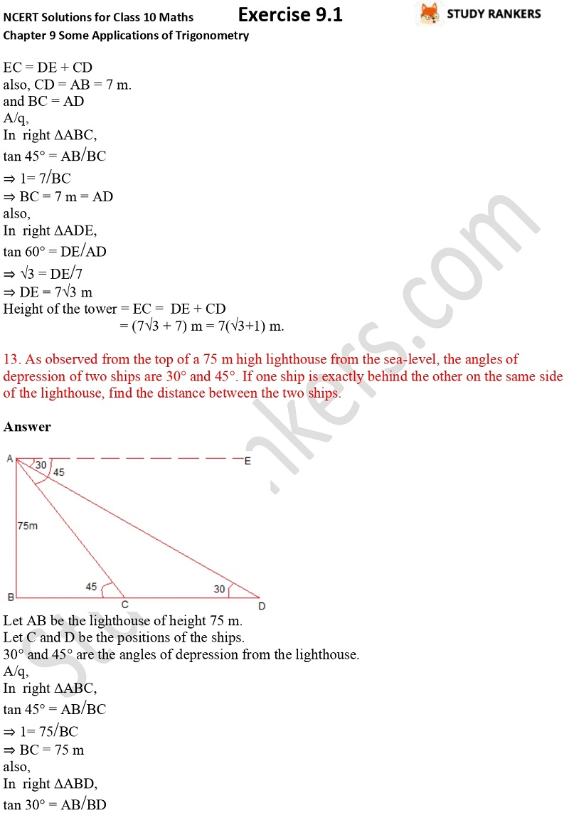 NCERT Solutions for Class 10 Maths Chapter 9 Some Applications of Trigonometry Exercise 9.1 Part 10