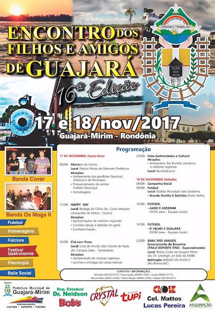 16° Encontro dos Filhos e Amigos de Guajará-Mirim será sexta e sábado, 17 e 18