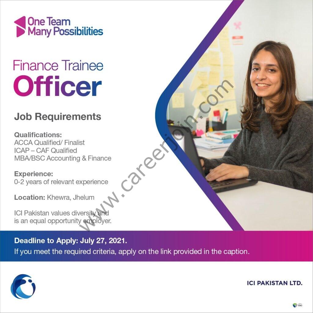 ICI Pakistan Ltd Jobs Finance Trainee Officer