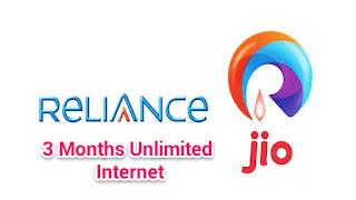 Reliance Jio Sim 4G Internet for 3 Months Free