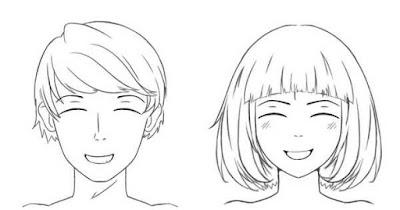 Personnages qui sourient avec la bouche légèrement ouverte