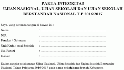 Download Pakta Integritas US USBN dan UN 2017 Gratiss