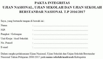 Download Pakta Integritas US USBN dan UN 2017 Gratiss