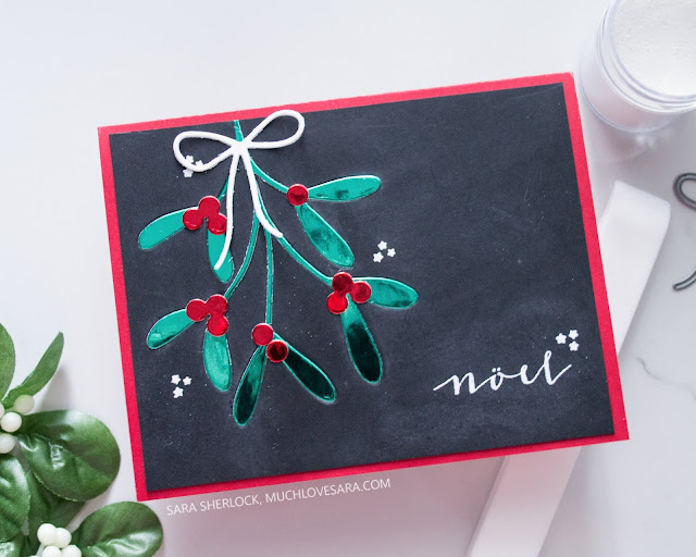 This chalky and shiny Christmas card was created using stamps and dies from the Concord & 9th 2019 Holiday Release.  Featuring the Mistletoe Messages bundle.  For the full details for each of four cards, along with details about where to purchase the supplies used, please visit the blog post.