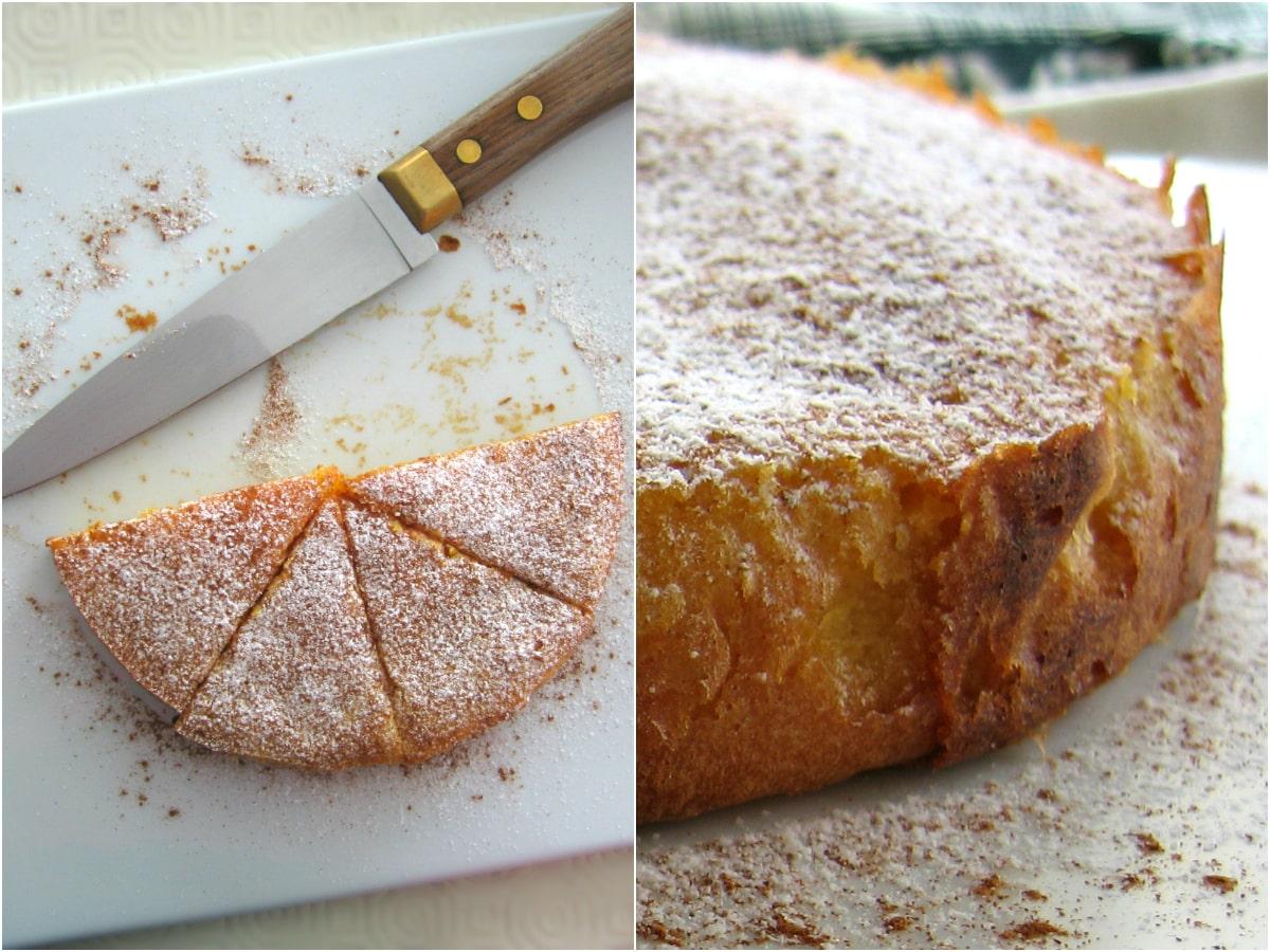 2 images: uma com várias fatias de bolo e faca, e outra com o bolo inteiro visto de perto
