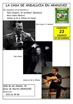 Cartel actuación de Félix Crujera en Aranjuez, febrero de 2019