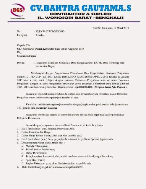 Contoh Surat Penawaran Harga (via: contohsurat.co)