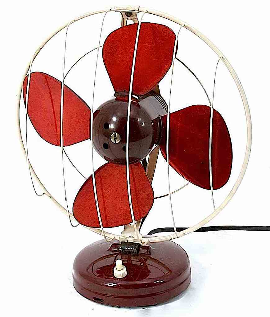 a photograph of a vintage table fan