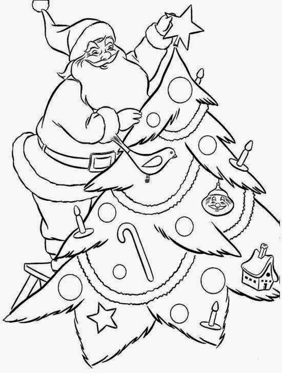 santa tree coloring pages - photo#6