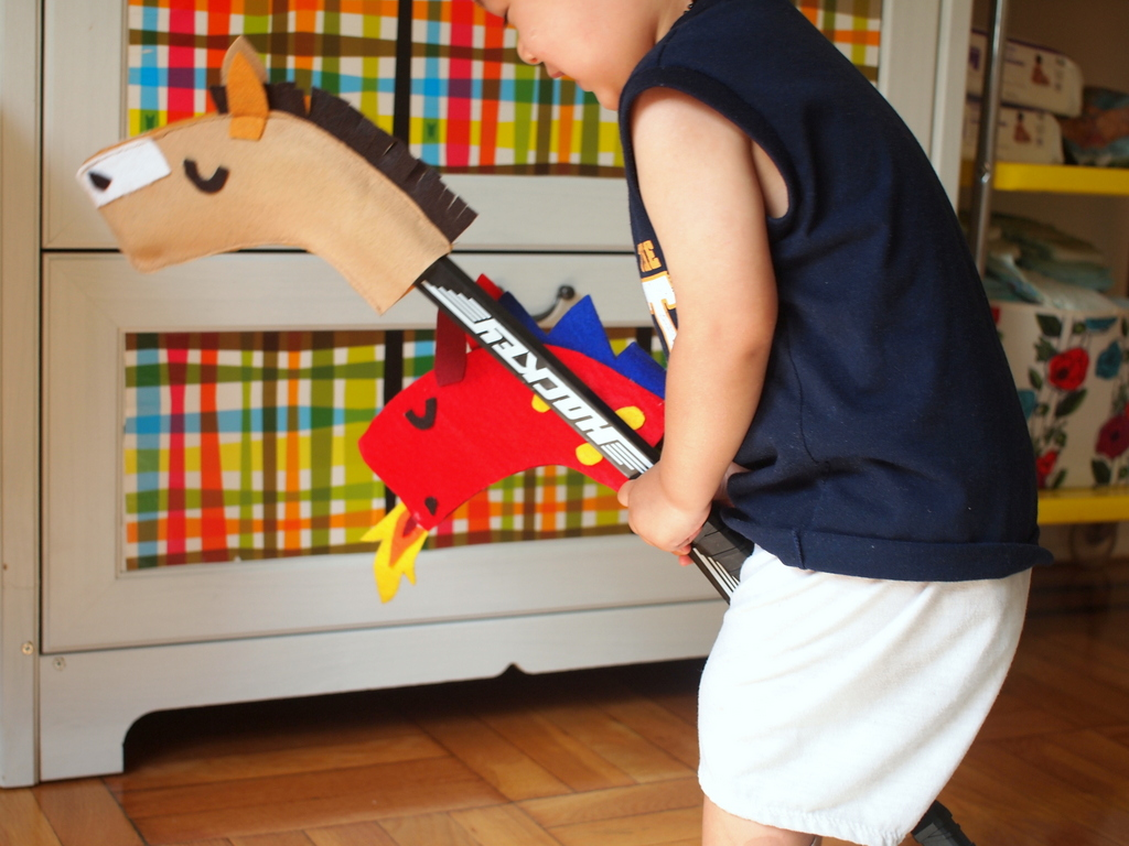 Make A Hockey Stick Hobby Horse And Dragon Pink Stripey