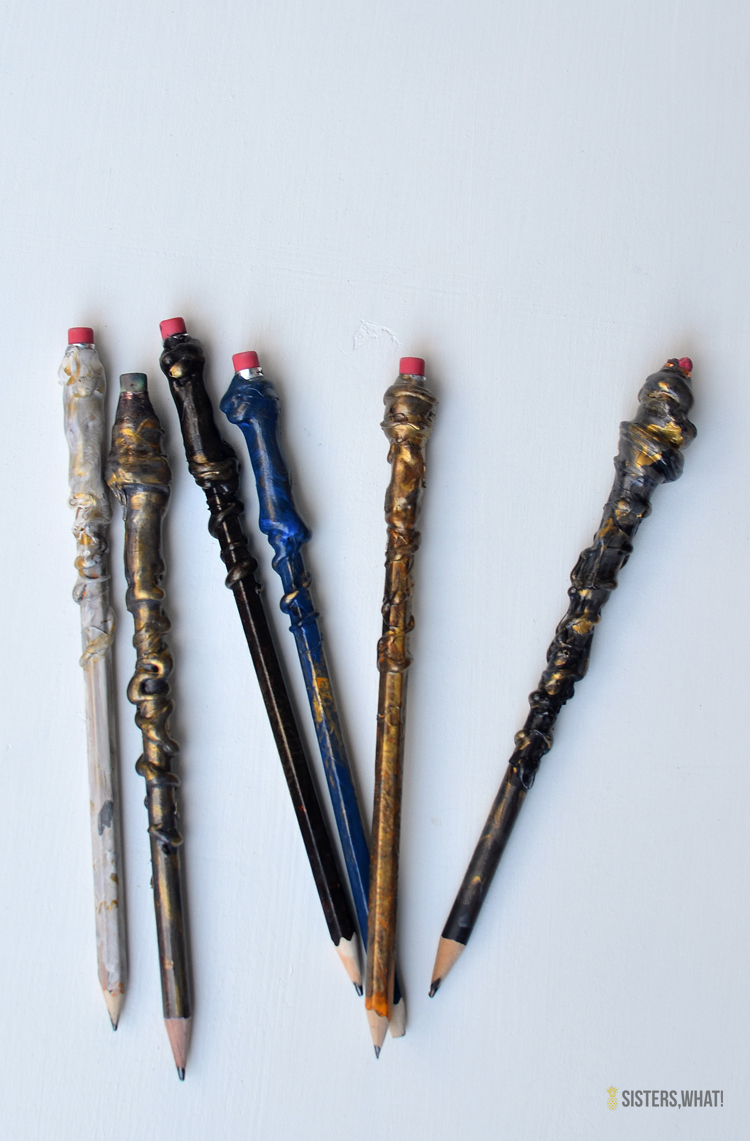 DIY Harry Potter Pencil Wands using Hot Glue and Paint