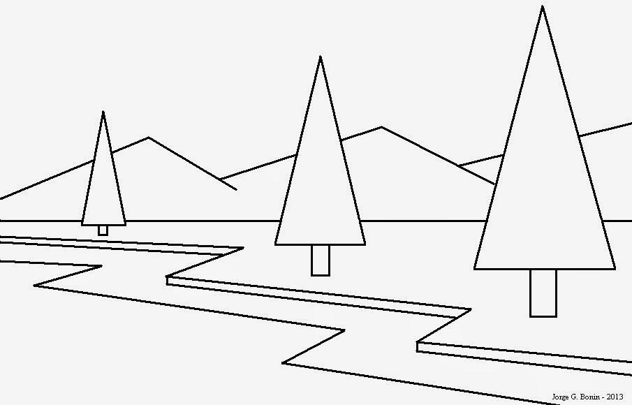 Arte No Paint Desenho Para Colorir Paisagem Geometrica