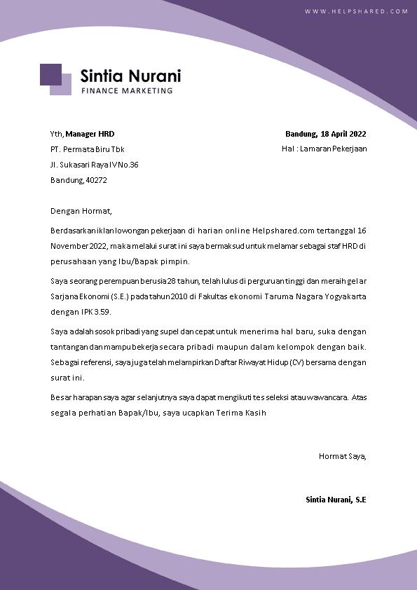 Contoh Surat Lamaran Kerja 23
