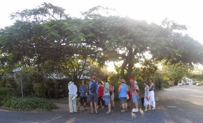 Walking tour stops at Mildmay Street, Fairfield, 16 February 2014. (C Dawson)