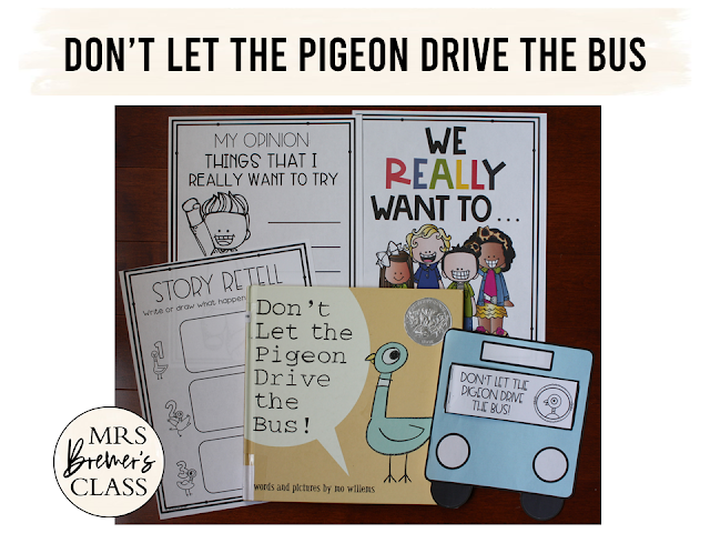 Don't Let the Pigeon Drive the Bus book study activities unit with Common Core aligned literacy companion activities class book & craftivity K-1