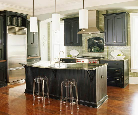 Green Kitchen Cabinets with Granite