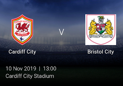 LIVE MATCH: Cardiff City Vs Bristol City English Championship 10/11/2019