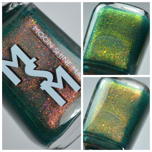 green nail polish with color shifting shimmer in a bottle