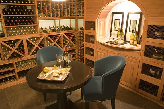 Wine cellar with table and chairs