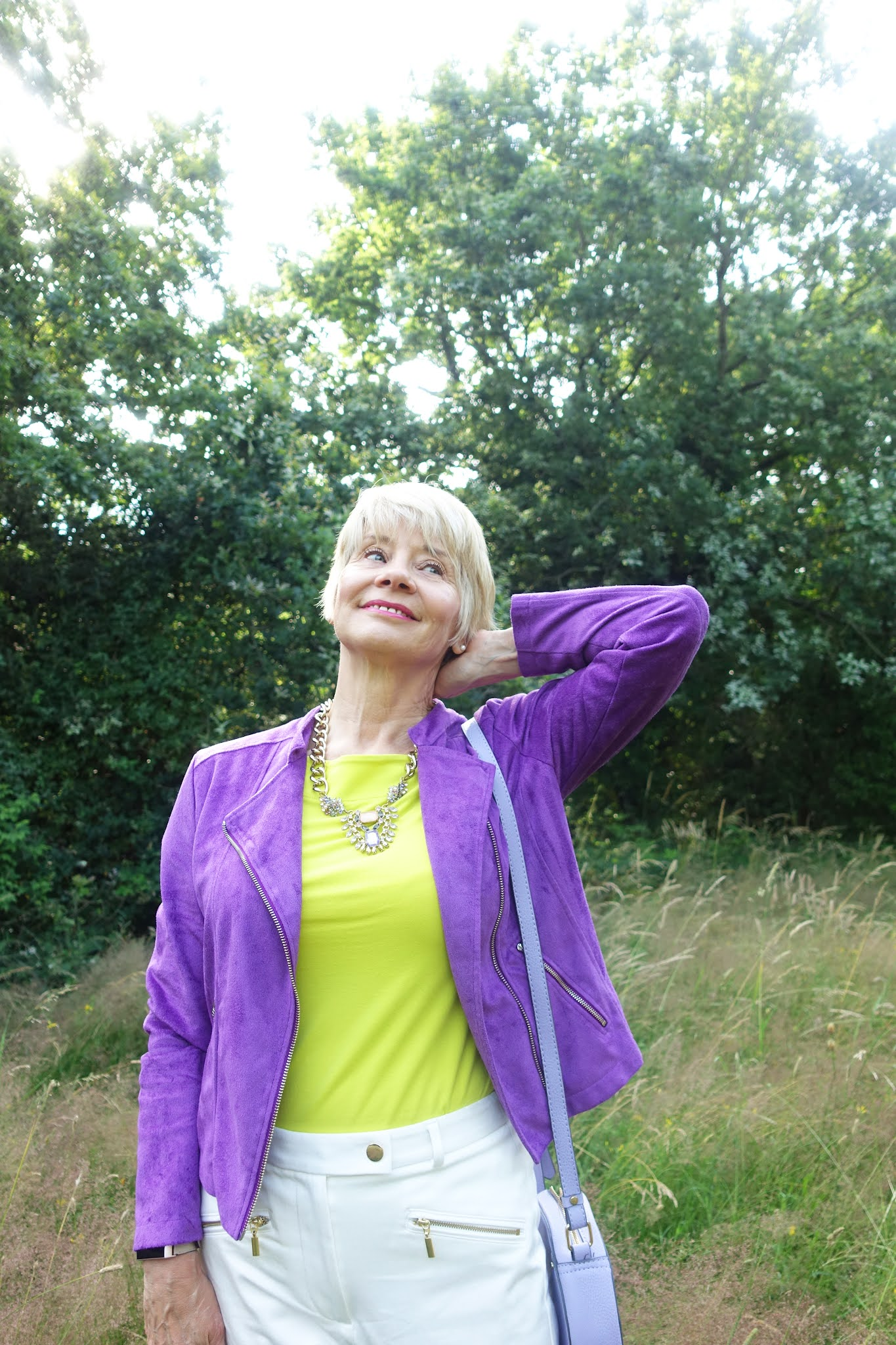 Is This Mutton blogger Gail Hanlon in Bright Violet Rachel jacket from Kettlewell for the latest Style Not Age Challenge, Jackets for July. Worn with a lime green tee and white ankle skimmer trousers