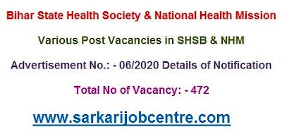Recruitment of Bihar SHSB Different Post Online Form 2020