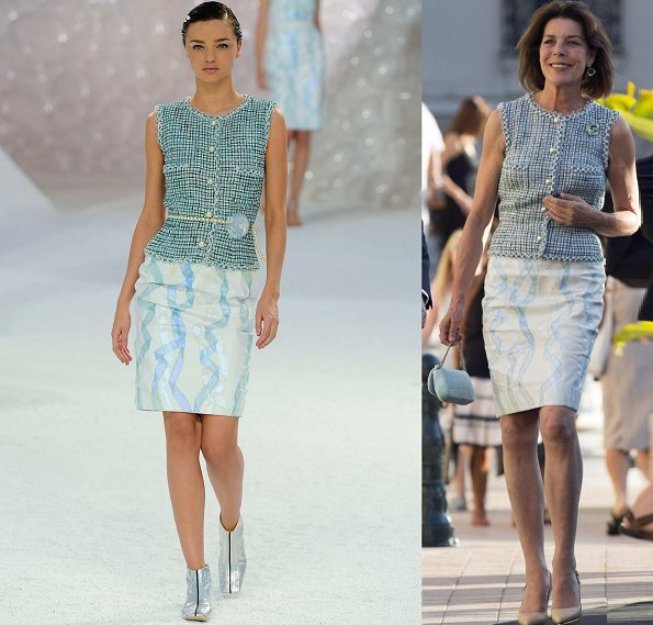 Princess Caroline attended Chanel Jewellery Collection Launch in Monaco. She wore a new top and skirt by Chanel