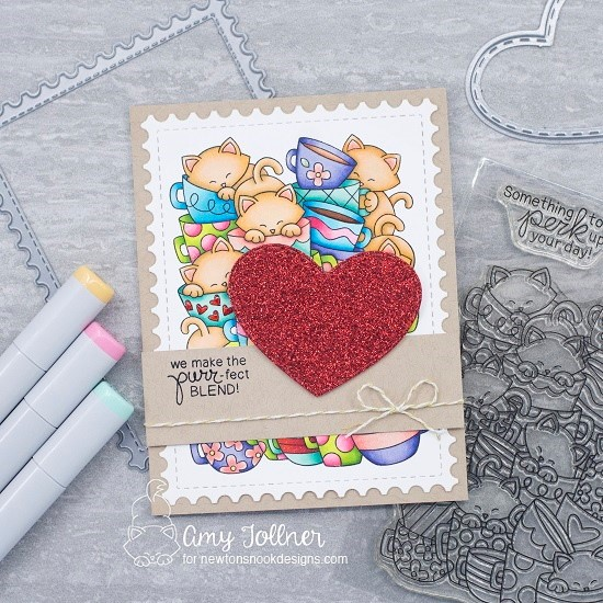 We make the purr-fect blend by Amy T. showcases Caffeinated Coffee, Newton Loves Coffee, Darling Hearts, and Framework by Newton's Nook Designs; #newtonsnook, #coffeecards, #inkypaws, #cardmaking, #valentinescards