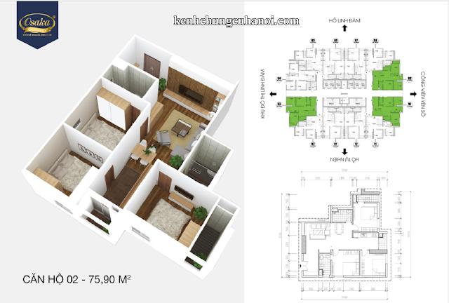 Mặt bằng căn hộ 02, 75m Osaka Complex