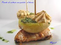 Pincho de salmón con patatas al horno