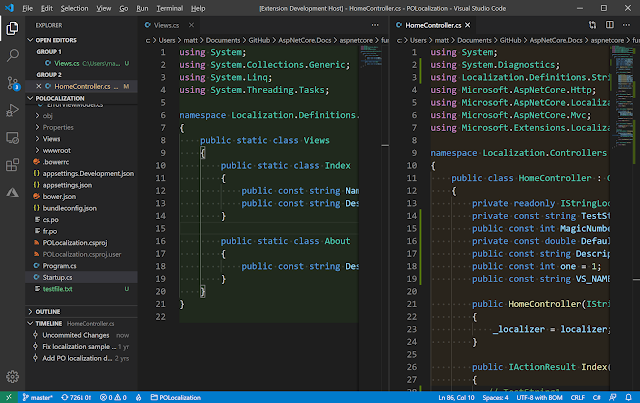 VSCode screenshot showing different documents with different color backgrounds