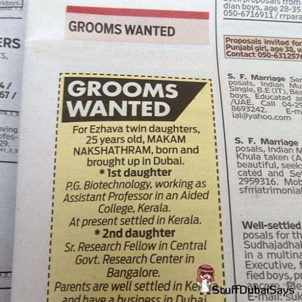 Iklan lowongan suami di Dubai.