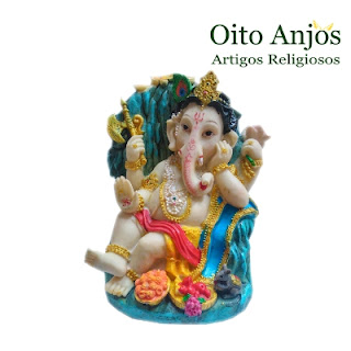 Imagem Ganesh - Deus Hindu da Prosperidade - Modelo 2 - Oito Anjos Artigos Religiosos e Loja Esotérica