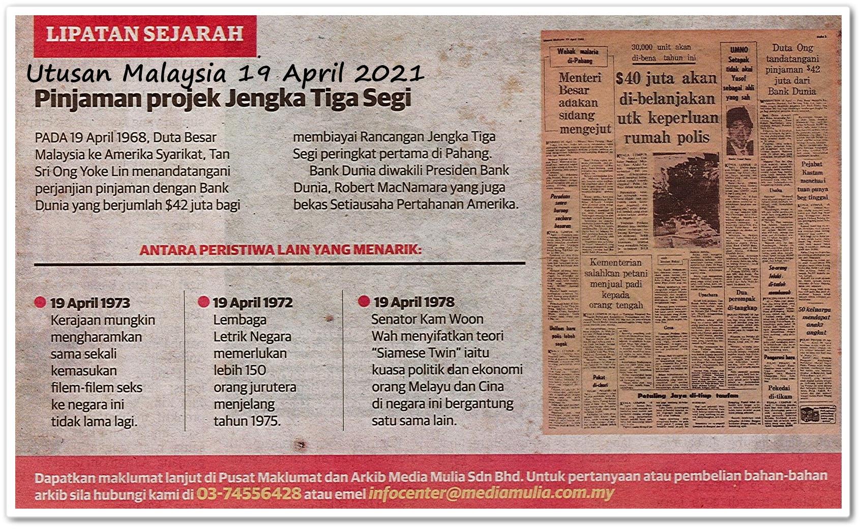 Lipatan sejarah 19 April - Keratan akhbar Utusan Malaysia 19 April 2021