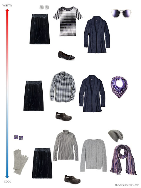 3 ways to wear a navy velvet skirt for changing weather