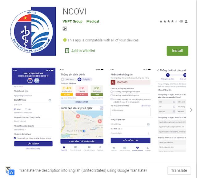 Ứng dụng 'NCOVI' khai báo thông tin y tế cá nhân