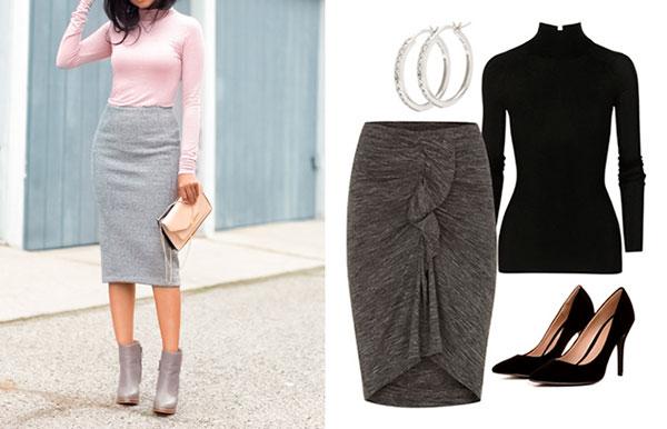 юбка, мода, осень, серый