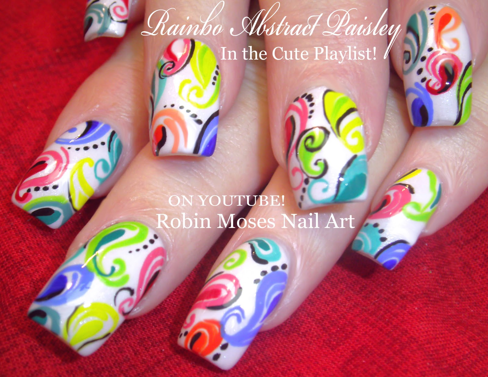 Nail Art by Robin Moses: Rainbow Paisley Nails! \
