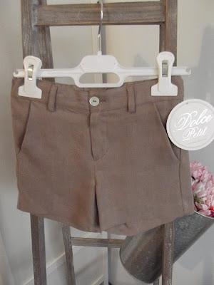 Pantalón corto niño tostado  nueva coleccion de Dolce Petit de pantalones para niños