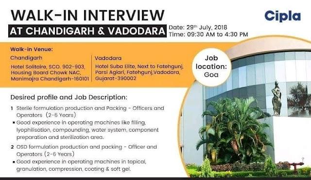 Cipla Ltd - walk in drive at Chandigarh & Vadodara on 29th July