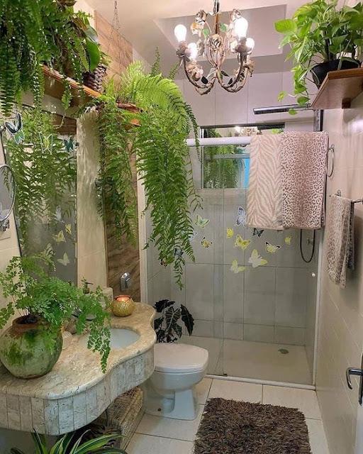 แบบห้องน้ำตกแต่งด้วยต้นไม้เล็กๆ