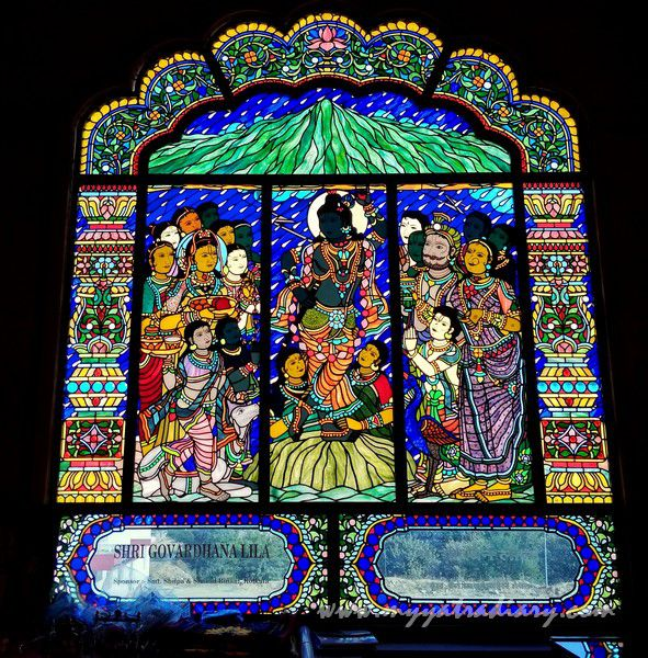 Govardhan lila stained glass window vedic art gallery - ISKCON Jaipur, Rajasthan