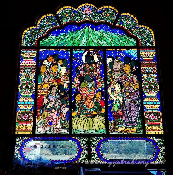 Govardhan lila stained glass window vedic art gallery - ISKCON Jaipur, Rajasthan